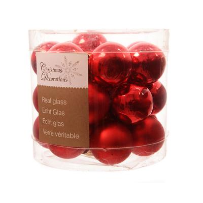 24 mini boules de noel rouges