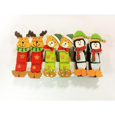 6 pinces à linge thème Noel