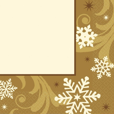 16 Serviettes or et flocons de neige