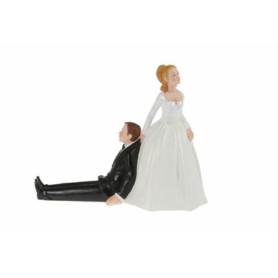 Couple de mariés en résine 15 cm assis