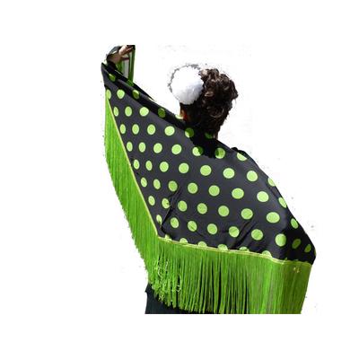 Châle espagnol noir à pois verts