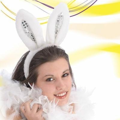 Serre Tête Lapin Ou Bunny Blanc Avec Paillettes