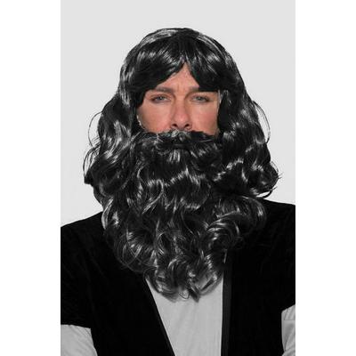 Perruque et barbe roi mage noire
