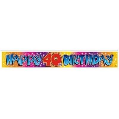 Bannière Métallisée Happy Birthday 40 Ans
