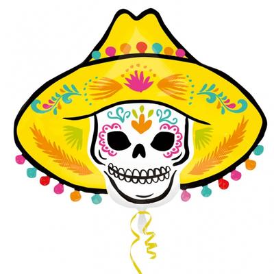 Ballon mylar Sombrero squelette