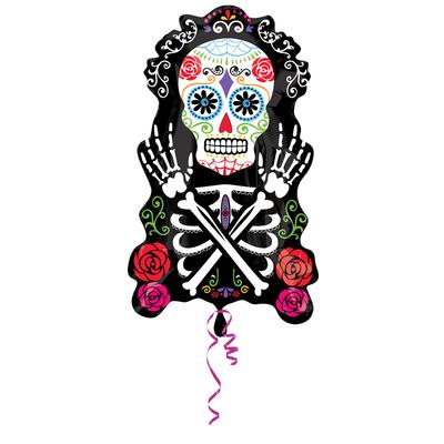Ballon mylar jour de la mort mexicain