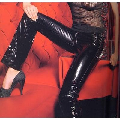 Pantalon En Vinyle Laqué Brillant
