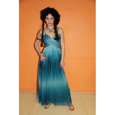 Costume luxe de déesse grecque bleue