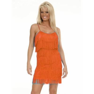 Robe charleston à franges orange