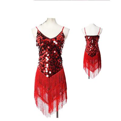 Robe à franges et paillettes rouge