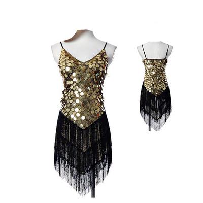 robe à franges et paillettes or/noire