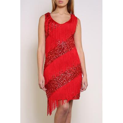 Robe charleston franges et paillettes rouges