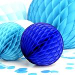 boule papier alveole bleu royal