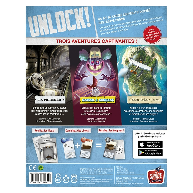 UNLOCK ! - Escape Adventures - Verso - Escape Games - Jeu de société Escape Games - Escape rooms - Great Escape