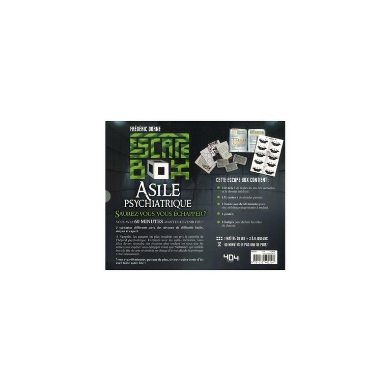 Escape box- Asile psychiatrique verso - Escape Games - Jeu de société dévasion - Escape rooms - Great Escape - Large