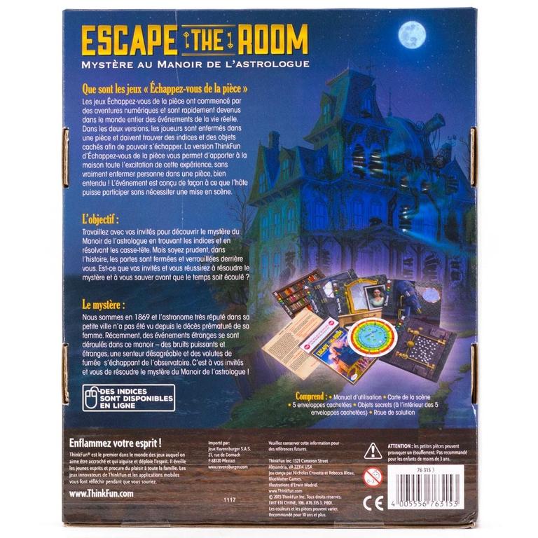 Escape The Room - Mystère au manoir de lastrologue - Verso - Escape Games - Jeu de société Escape Games - Escape rooms