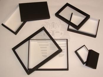 Boîtes à insectes vitrées - bois + reliure noire