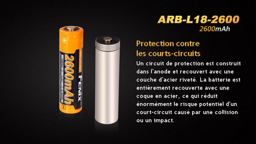 Piles Lampes Fenix ARBL18-2600 3.7 volt