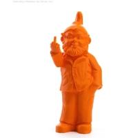 The Garden Gnomes, middle finger, by Ottmar Hörl, Orange (Sponti 1994-2006)