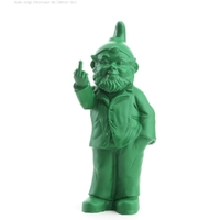 The Garden Gnomes, middle finger, by Ottmar Hörl, green (Sponti 1994-2006)