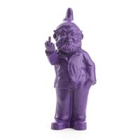 The Garden Gnomes, middle finger, by Ottmar Hörl, purple (Sponti 1994-2006)