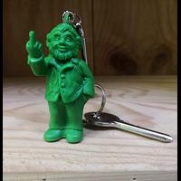 Keyring, The Garden Gnomes, middle finger, by Ottmar Hörl, green