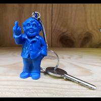 Keyring, The Garden Gnomes, middle finger, by Ottmar Hörl, Blu