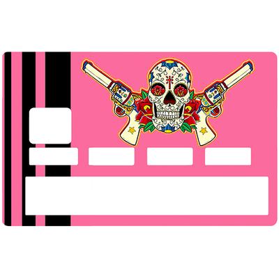 Credit card Sticker, Catarina Calavera, la santa muorte, pink & black