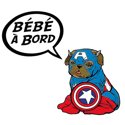 Sticker, Baby on board ! Capt America Pug