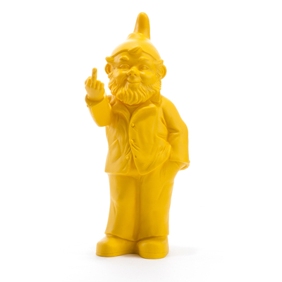 The Garden Gnomes, middle finger, by Ottmar Hörl, yellow (Sponti 1994-2006)