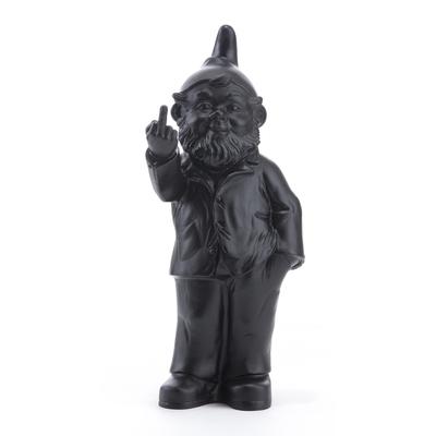 The Garden Gnomes, middle finger, by Ottmar Hörl, Black (Sponti 1994-2006)