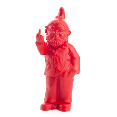 The Garden Gnomes, middle finger, by Ottmar Hörl, red (Sponti 1994-2006)