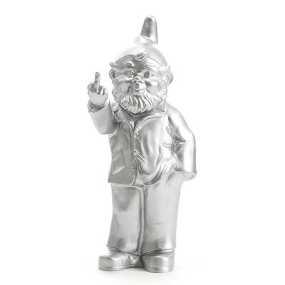 Gnome Sculpture Decor - Flipping Middle Finger, silver (Sponti 1994-2006)