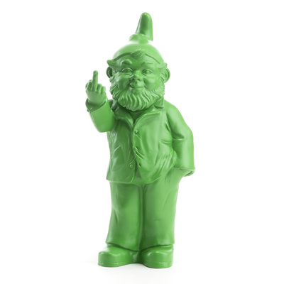 The Garden Gnomes, middle finger, by Ottmar Hörl, anis green (Sponti 1994-2006)