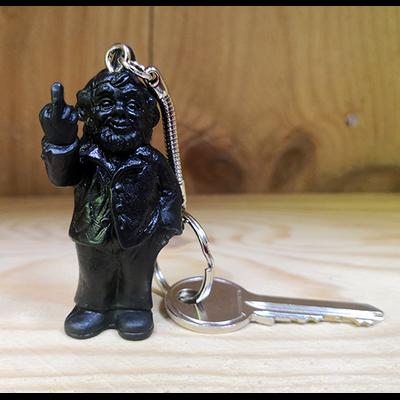 Keyring, The Garden Gnomes, middle finger, by Ottmar Hörl, black