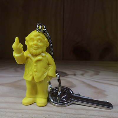 Keyring, The Garden Gnomes, middle finger, by Ottmar Hörl, yellow