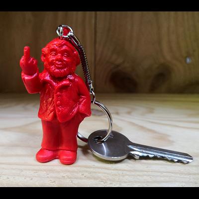 Keyring, The Garden Gnomes, middle finger, by Ottmar Hörl, red