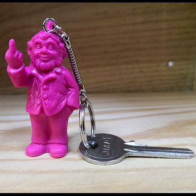 Keyring, The Garden Gnomes, middle finger, by Ottmar Hörl,pink