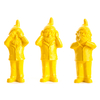 the 3 Garden Gnomes, who do not want to see, not hear, speak, color yellow