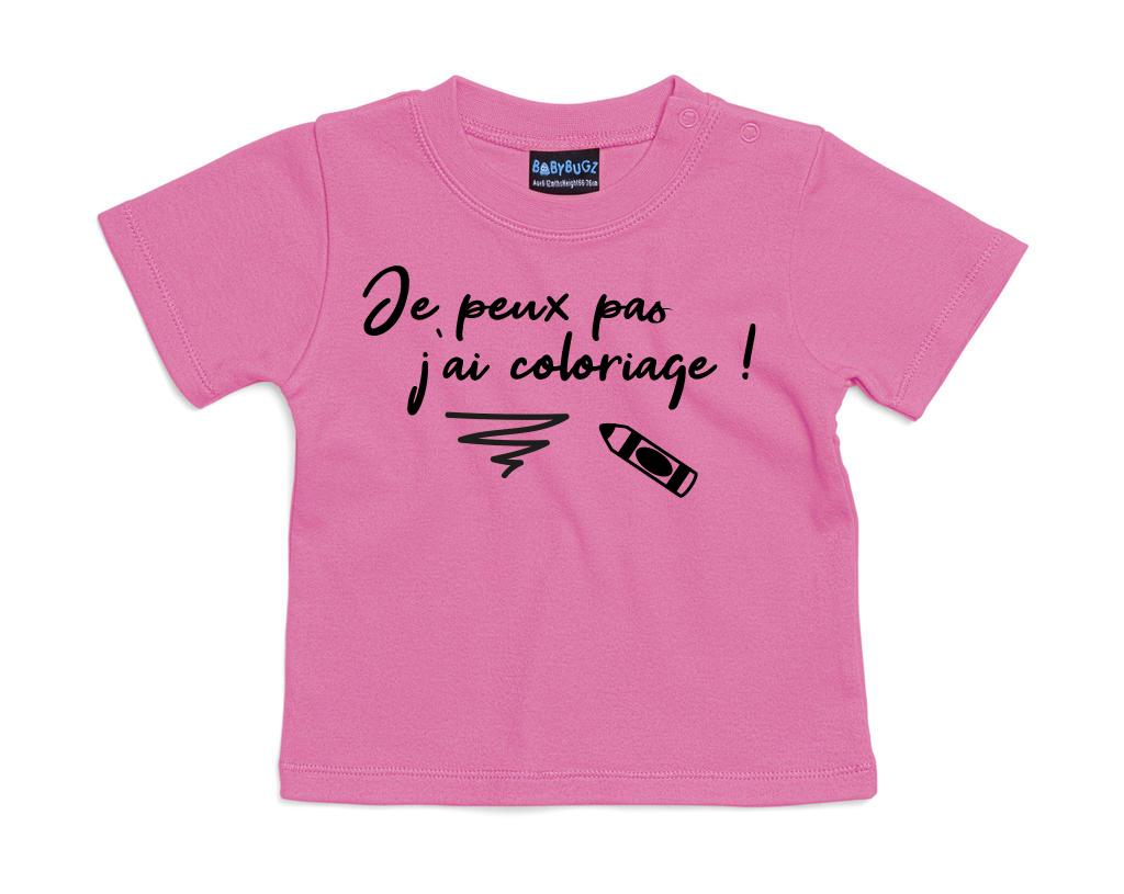T-shirt bébé Je peux pas j\'ai coloriage