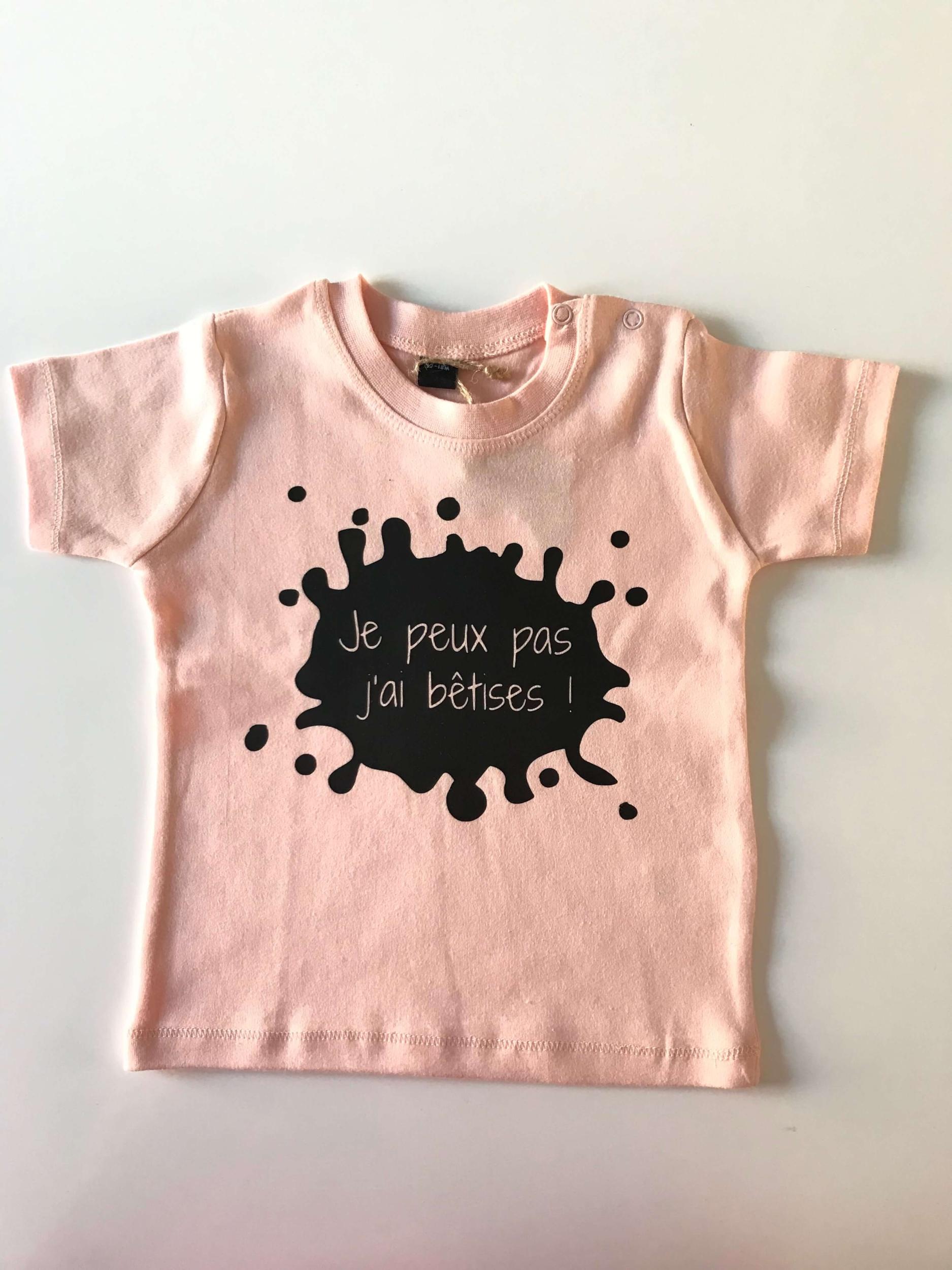 T-shirt bébé Je peux pas j\'ai bêtises