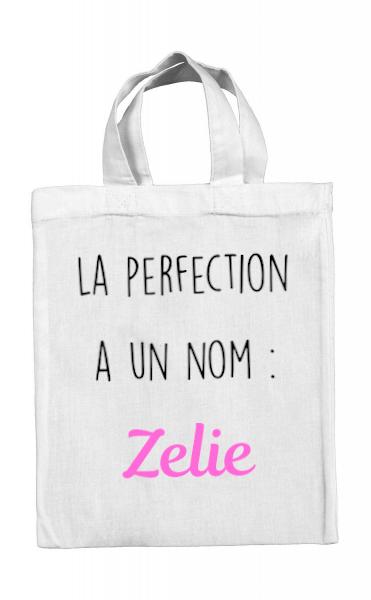Mini tote bag La perfection a un nom : *prénom*
