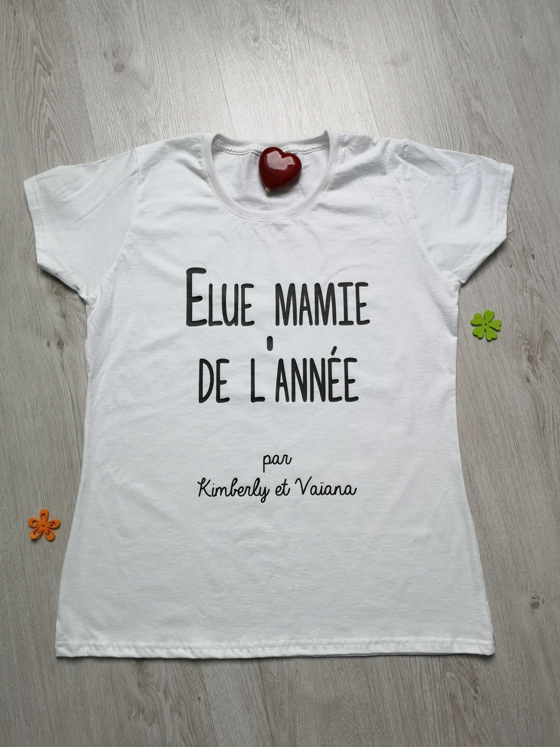 T-shirt femme Élue mamie de l\'année par ...