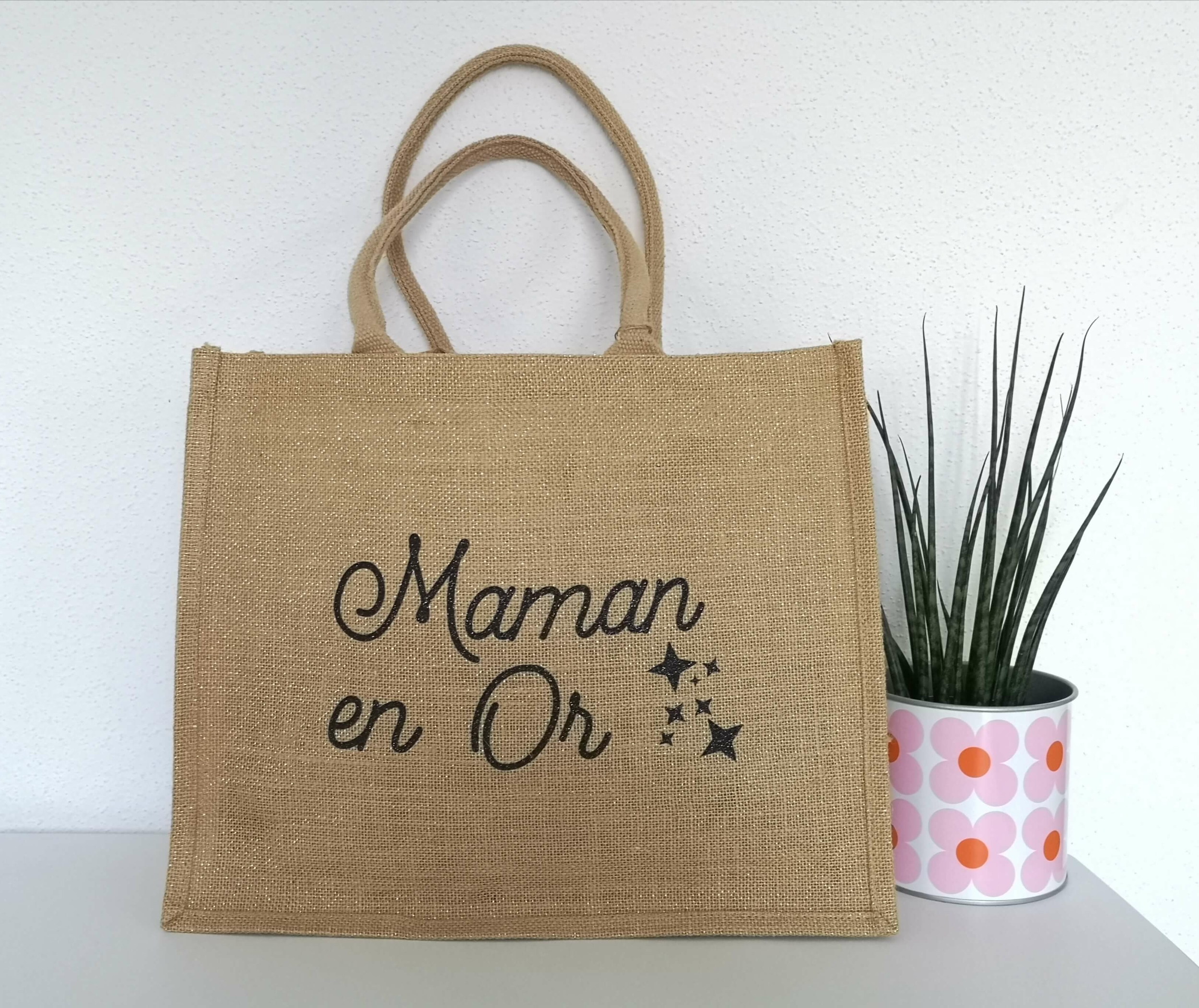 Sac shopping en jute Maman en or