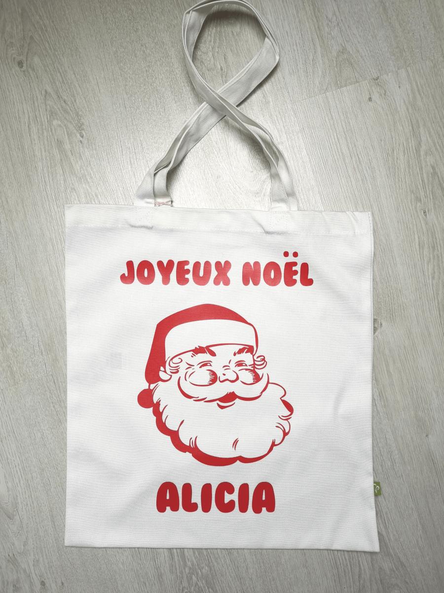 Tote bag coton personnalisé Joyeux Noël avec prénom