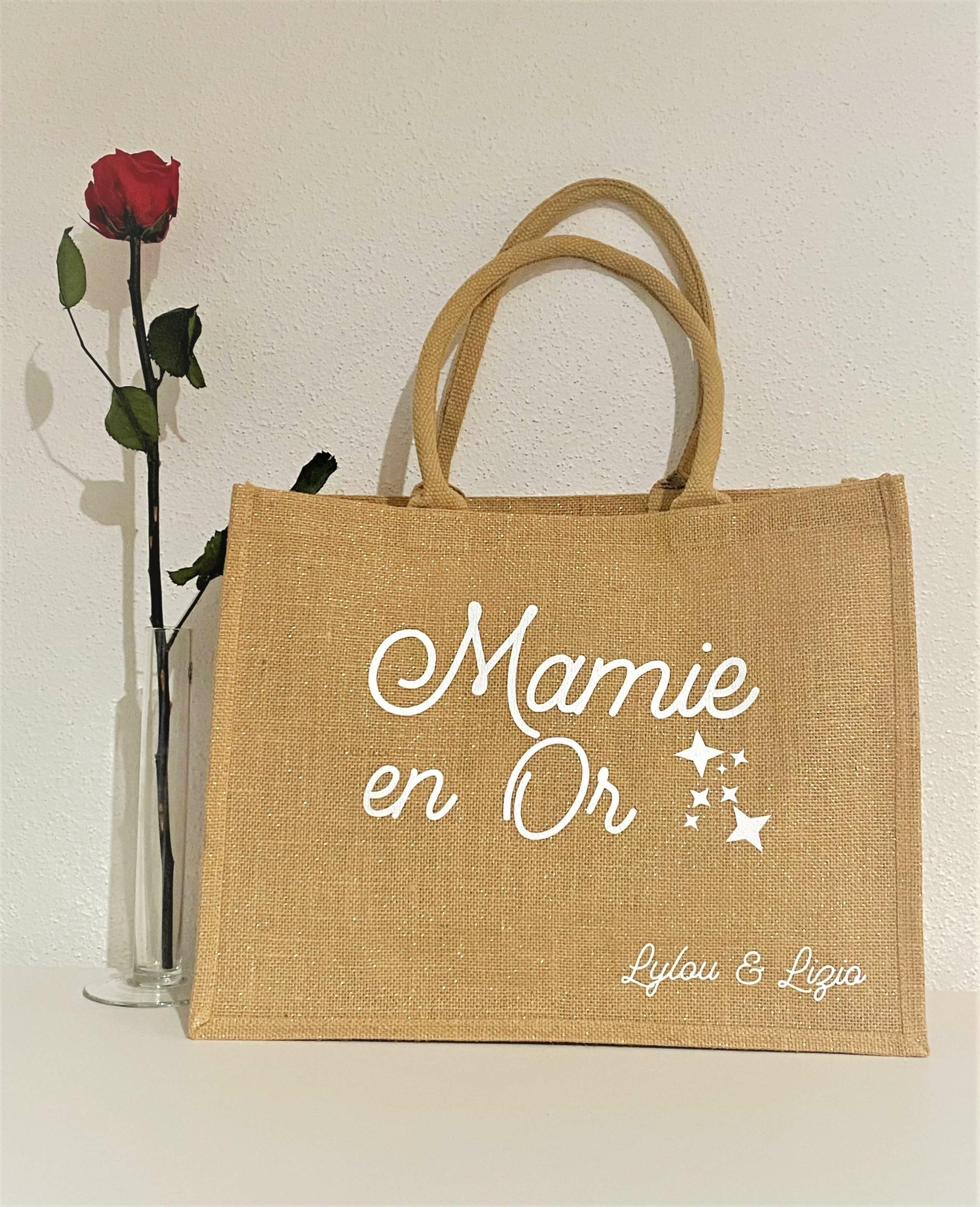 Sac shopping Mamie en Or