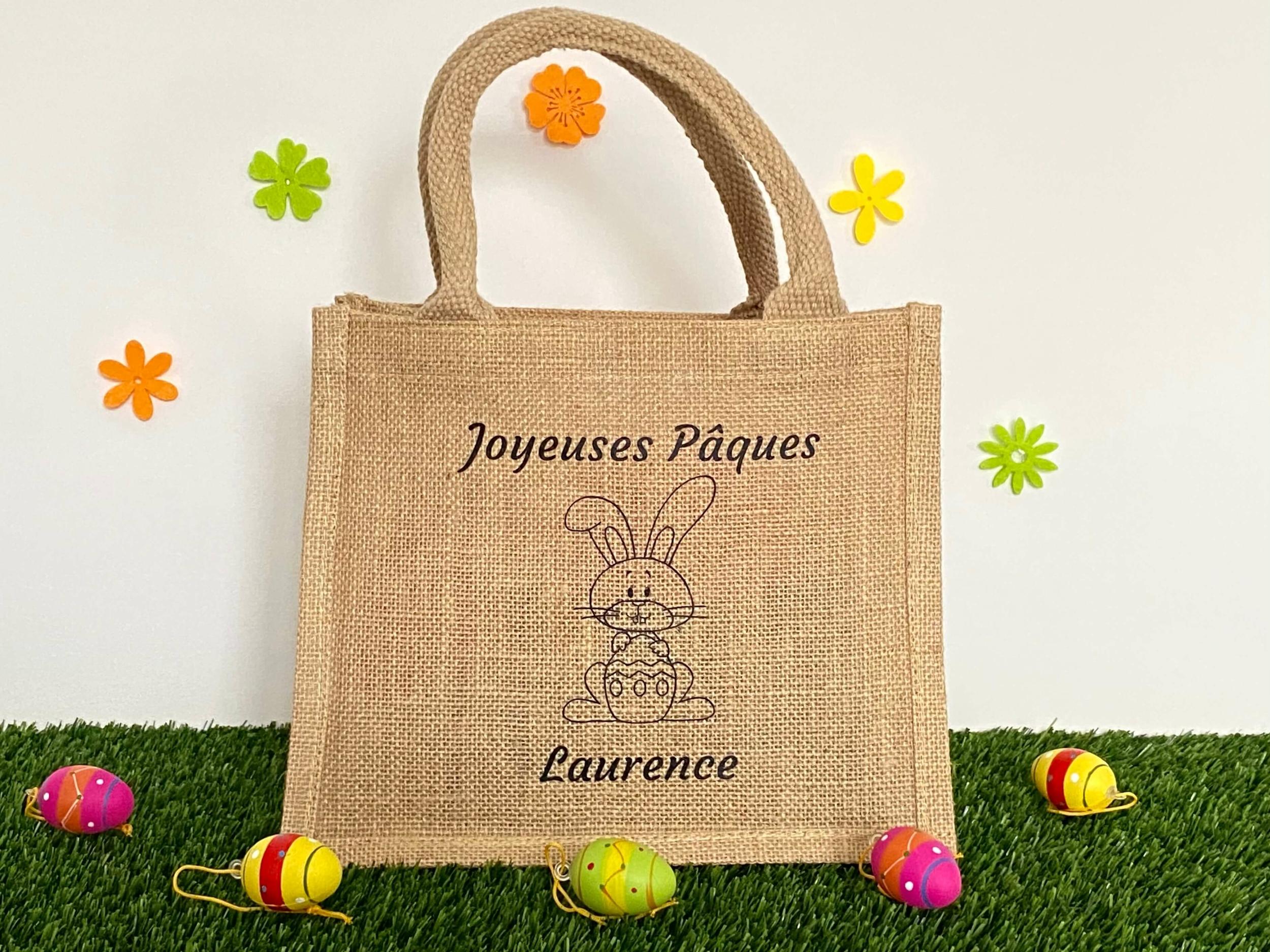 Mini sac jute Joyeuses Pâques avec prénom