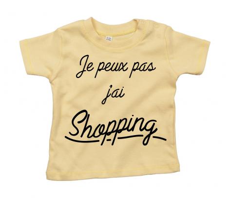 T-shirt bébé Je peux pas j\'ai shopping