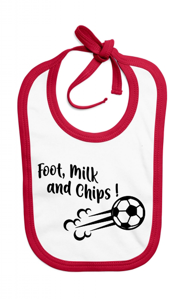 Bavoir Foot, milk and chips