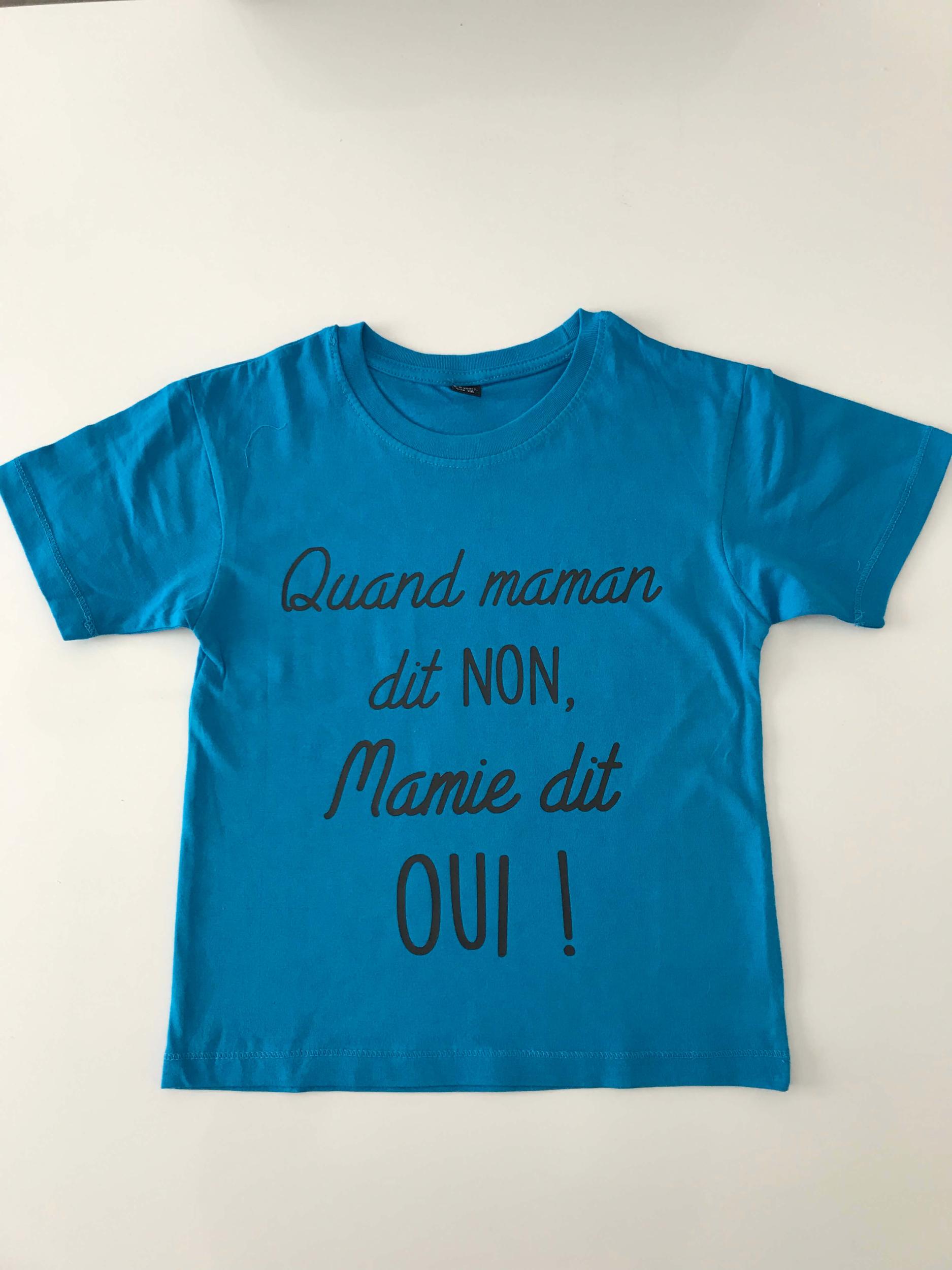 T-shirt enfant Quand maman dit NON, mamie dit OUI
